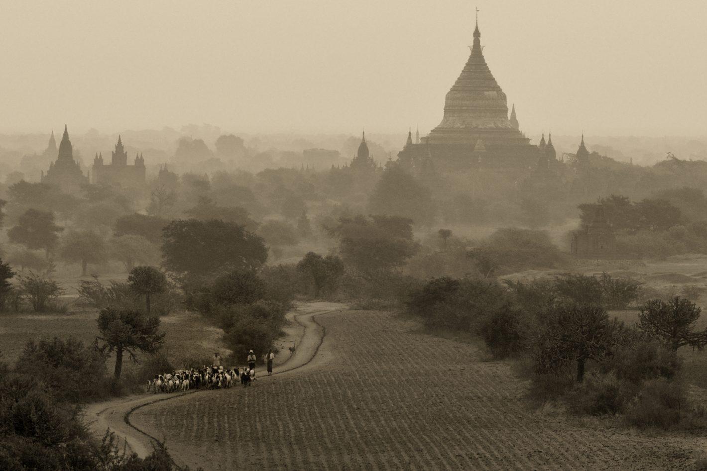 Nikon Voyages Survol en montgolfière de la plaine de Bagan en Birmanie.