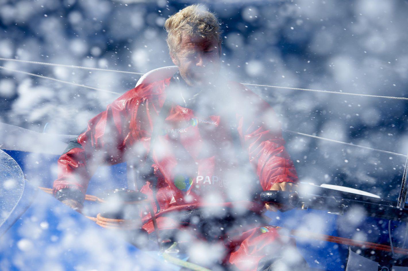 Multi70 PAPREC, skipper Yann Elies, entrainement en solo au large de Lorient, derniers preparatifs avant le depart pour La Route Du Rhum Destination Guadeloupe 2014. 10eme edition - Nikon D4 - Nikkor 70-200 mm f/2.8