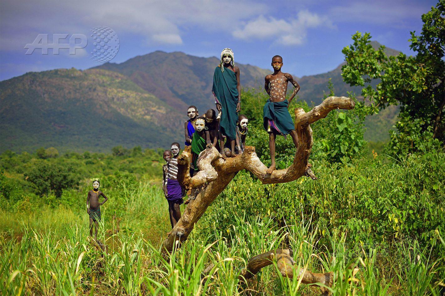 AFP 14 / ÉTHIOPIE 25 septembre 2016 - Kibbish, Éthiopie - Des enfants de la tribu Suri posent près de la localité de Kibbish, dans la vallée de l'Omo, où vivent de nombreuses tribus d'agriculteurs et éleveurs semi-nomades. La construction du barrage baptisé « Gibe III » pourrait porter atteinte aux modes de vie des populations locales. AFP / CARL DE SOUZA