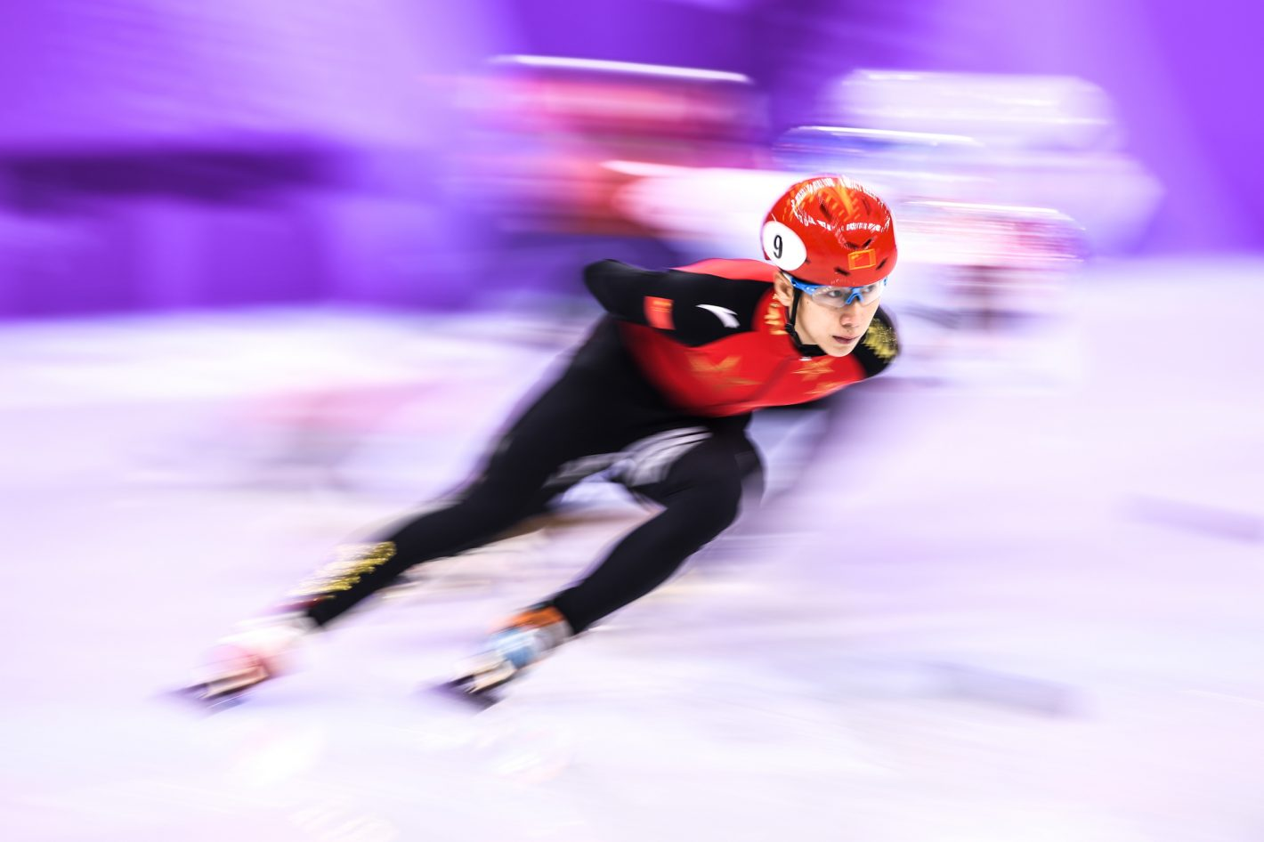 Han Tian Yu of China competes during the Men's 1,500 Final Group B on February 10, 2018. Nikon D5 | AF-S NIKKOR 300mm f/2.8G ED VR II | ISO 64 | 1/13 s | f/5 Copyright: An Ling Jung / China Sports