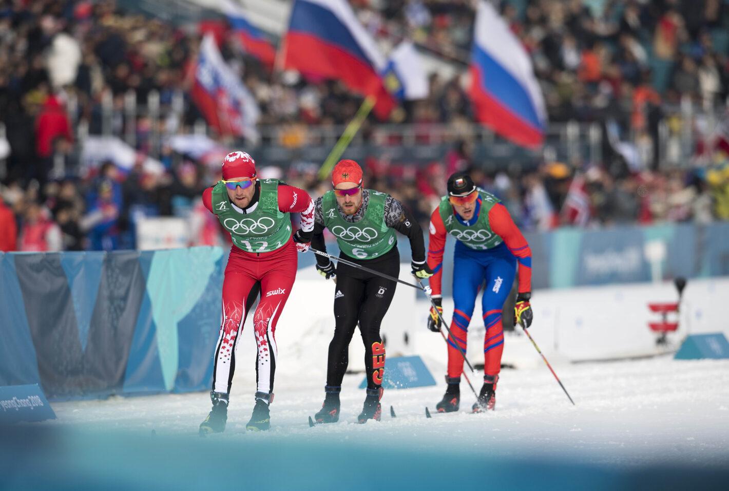 From left, Algo Karp (EST), Thomas Bing (GER), Martin Jaks (CZE) in action, Cross-Country Skiing, Men's 4 x 10km Relay, Alpensia Cross-Country Skiing Centre on February 12, 2018 during the PyeongChang 2018 Winter Olympic Games. Nikon D5 | AF-S NIKKOR 400mm f/2.8E FL VR | ISO 100 | 1/2000 s | f/5.0 Photo by Anke Wälischmiller/ FOTOAGENTUR SVEN SIMON