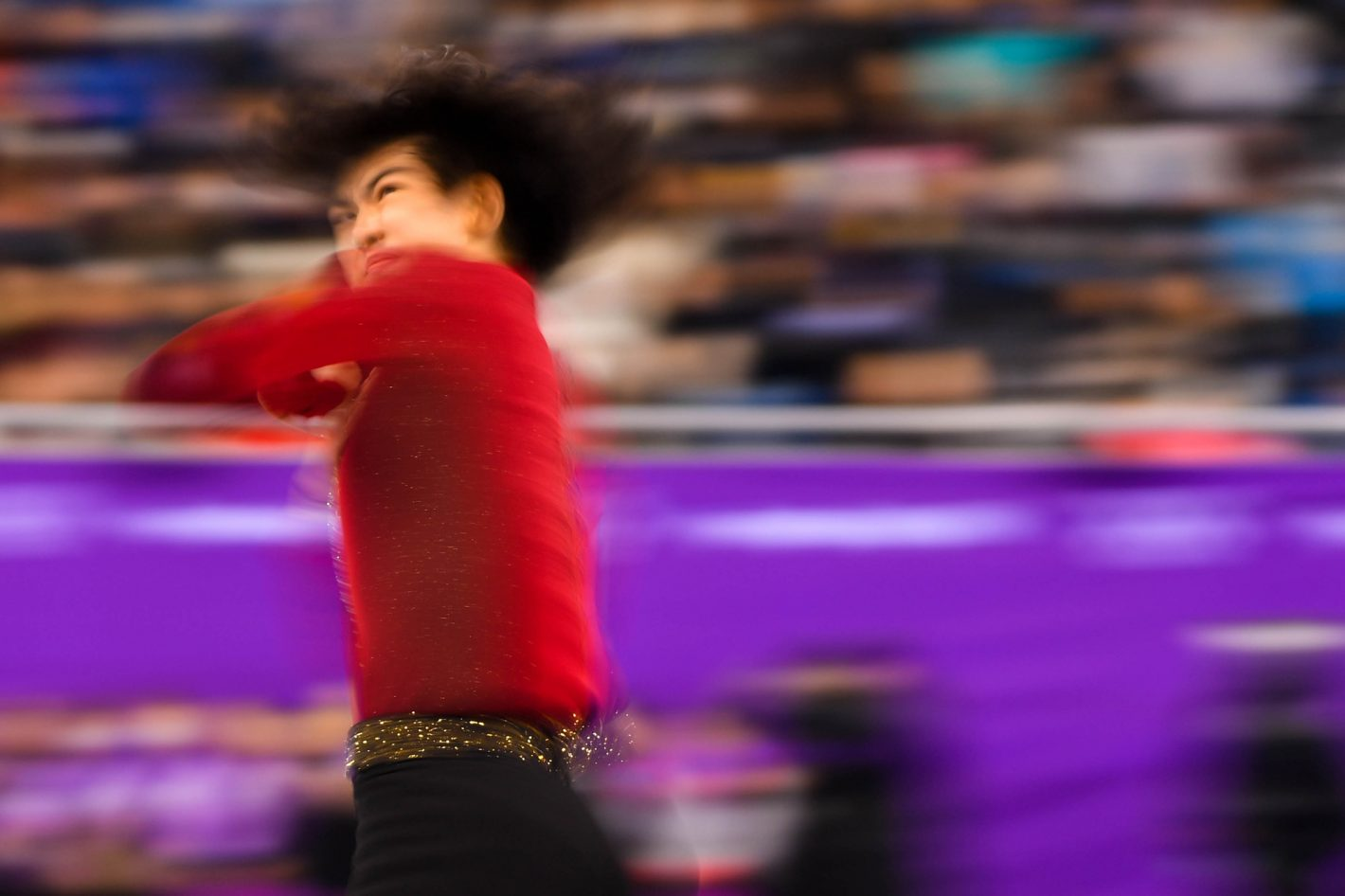 Junhwan Cha (KOR) competes in the men figure skating short program at Gangneung Ice Arena during the PyeongChang 2018 Olympic Winter Games. Nikon D5 | AF-S NIKKOR 200-500mm f/5.6E ED VR | ISO 200 | 1/30 s | f/5.6 Photo by Robert Deutsch-USA TODAY Sports