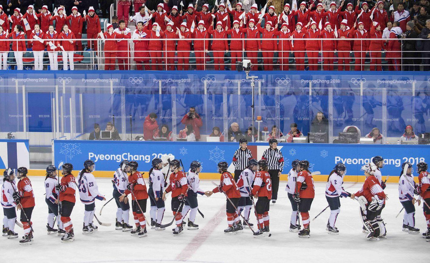 Switzerland and Korea – hand shake after the game. Women's Ice Hockey Preliminary Round Switzerland vs. Korea at Kwandong Hockey Centre on February 10, 2018 during the PyeongChang 2018 Winter Olympic Games. Nikon D5 | AF-S NIKKOR 70-200mm f/2.8E FL ED VR | ISO 1250 | 1/1250 s | f/3.5 Photo by Anke Wälischmiller/ FOTOAGENTUR SVEN SIMON