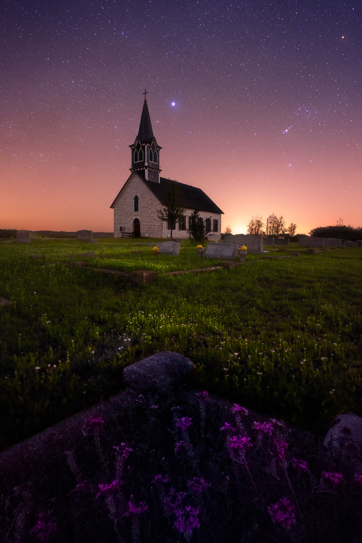 Guds Hus, Norse Church St. Olaf Kirke, Central Texas. Sony a7RIV, 18mm, 20s, 21 exposures, 5000 iso, f2.8