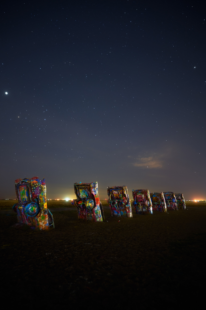 Night at Ranch, Cadillac Ranch, Amarillo, Texas, Sony a7RII, 18mm, 10s, 8 exposures, 2000 iso, f2.8